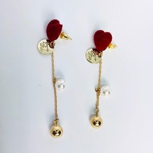 New! Red Heart Faux Pearl Dangle Earrings Gold